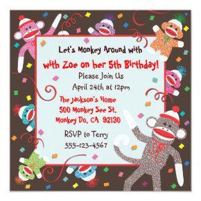 Sock Monkey Birthday Party Invitation Card