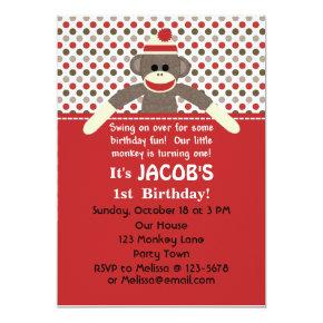 Sock Monkey Birthday Party invitation - customize