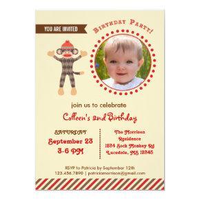 Sock Monkey Birthday Photo Invitation