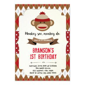 Sock monkey boy party invitation