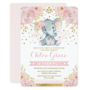 Soft Blush Gold Elephant 1st Birthday Chic Floral Invitation