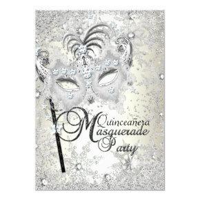 Soft Gold Snowflake Mask Masquerade Quinceanera Invitation