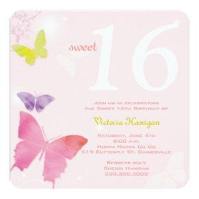 Soft Pink Butterfly Themed Sweet 16 Birthday Party Invitation