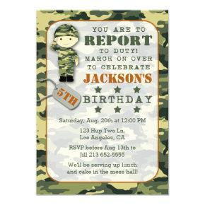 Soldier Military Camo Boy Birthday Invitations