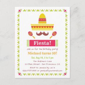 Sombrero and Moustache Mexican Fiesta Party Invitation