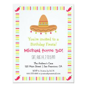 Sombrero Mexican Fiesta Adult Birthday Party Invitations