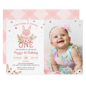 Some Bunny Girl 1st Birthday Butterfly Photo Invitations