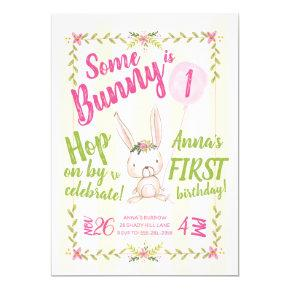 Some Bunny is One Girl's First Birthday Invitation
