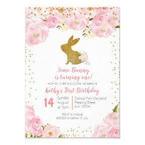 Some Bunny is Turning One 1st Birthday Invitation