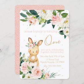 Some Bunny is Turning One First Birthday for Girl Invitation