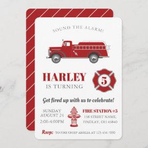 Sound the Alarm Fire Truck Birthday Party Any Age Invitation