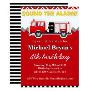 Sound the Alarm Red Fire Truck Birthday Invitation
