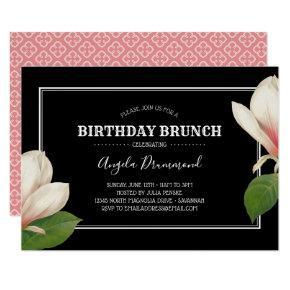 Southern Magnolia Birthday Brunch Black Invitation