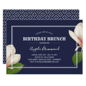 Southern Magnolia Birthday Brunch Blue Invitation