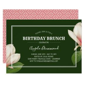 Southern Magnolia Birthday Brunch Green Invitation