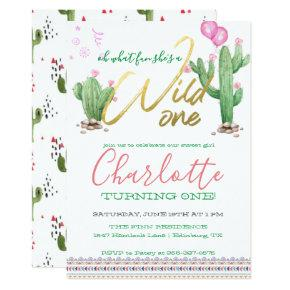 Southwestern Cactus First Birthday Invitation