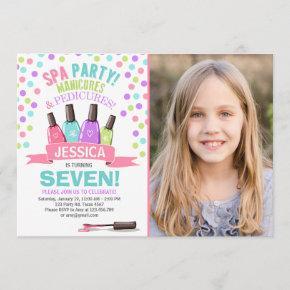 Spa birthday invitation Manicures Salon Pink