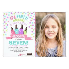 Spa birthday Invitations Manicures Salon Pink