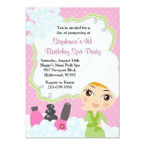 Spa Birthday Mani Pedi Party Invitations