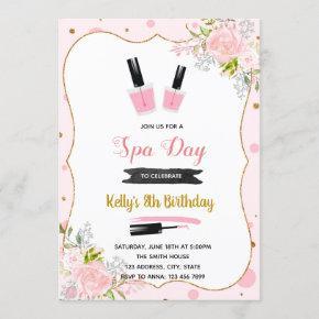 Spa day birthday invitation