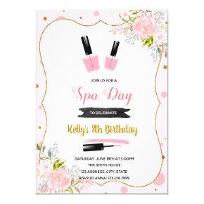 Spa day birthday invitation
