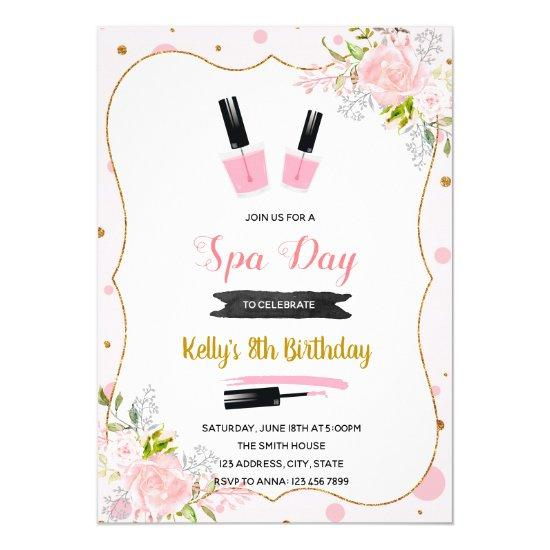 Spa Day Birthday Invitation Candied Clouds