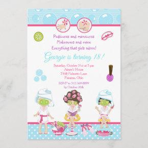 Spa Girls Pamper Birthday Party Invitation