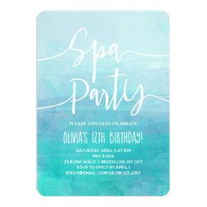 Spa Party Invitation Blue Watercolor Spa Birthday