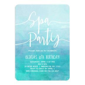 Spa Party Invitation Blue Watercolor Spa Birthday