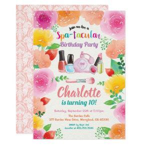 Spa party invitation. Girl birthday party floral Invitation