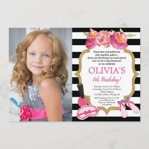 Spa Sleepover Birthday party floral photo Invitation