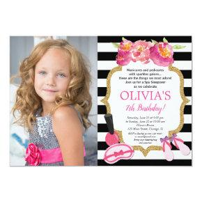 Spa Sleepover Birthday party floral photo Invitation