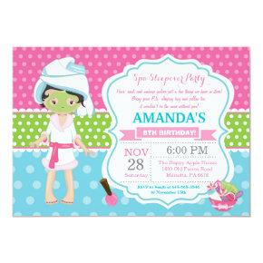 Spa Sleepover Slumber Birthday Party Invitation