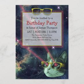 Space Hipster Cat Birthday Invitation