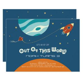 Space theme birthday, a blast out of of this world invitation