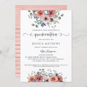 Spanish, Blush Pink and Blue Floral Quinceañera Invitation