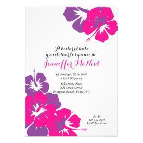 spanish pink purple QUINCEANERA LUAU birthday Card
