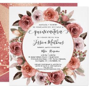 Spanish,Quinceanera Blush Floral Rose Gold Floral Invitation