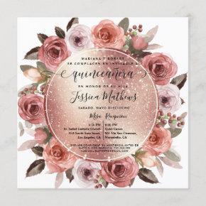 Spanish,Quinceanera Blush Floral Rose Gold Glitter Invitation