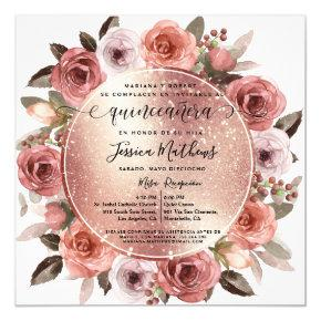 Spanish,Quinceanera Blush Floral Rose Gold Glitter Invitation