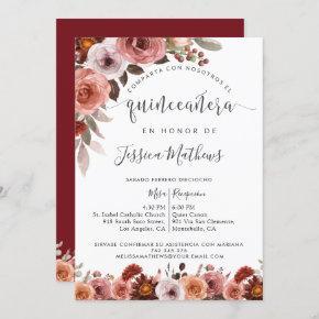 Spanish Quinceañera, Burgundy Blush Floral Marsala Invitation