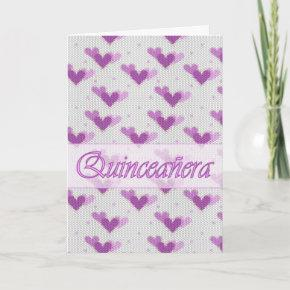 Spanish Quinceanera Pink Purple Hearts