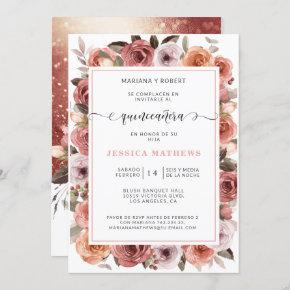 Spanish Rose Gold Quinceañera Pink, Blush Floral Invitation