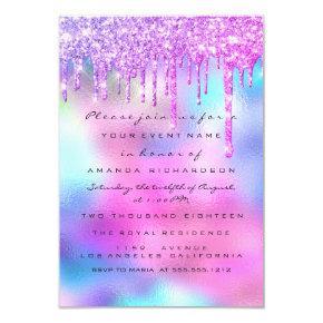 Spark Glitter Drip Silver Unicorn Pink Bride 16th Invitation