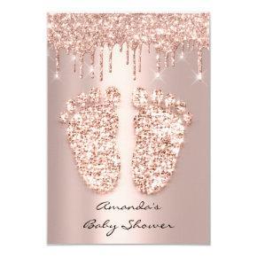 Spark Glitter Drips Rose Gold Baby Shower Feet Invitation