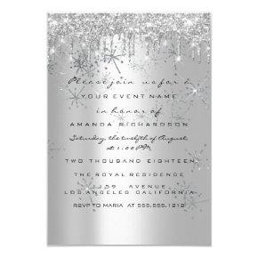 Spark Glitter Rose Silver Bridal Sweet 16 Snow Invitation