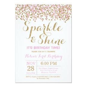Sparkle and Shine Pink Gold Birthday Invitations