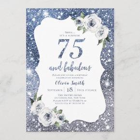 Sparkle blue glitter and floral 75th birthday invitation