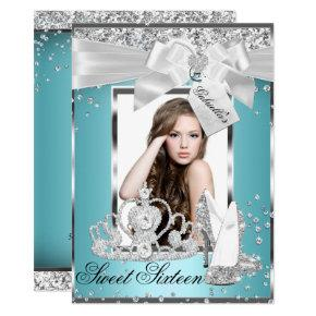 Sparkle Bow Tiara Photo Sweet 16 Invitations