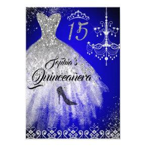 Sparkle Diamond Dress Blue Silver Quinceanera Invitation